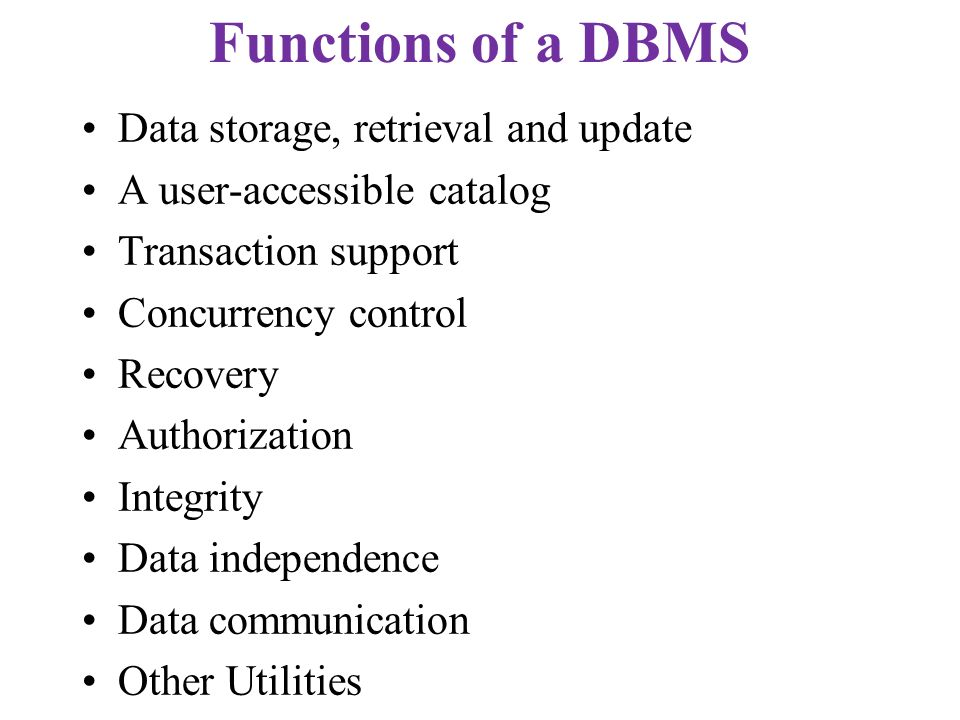 Functions of a DBMS Data storage, retrieval and update