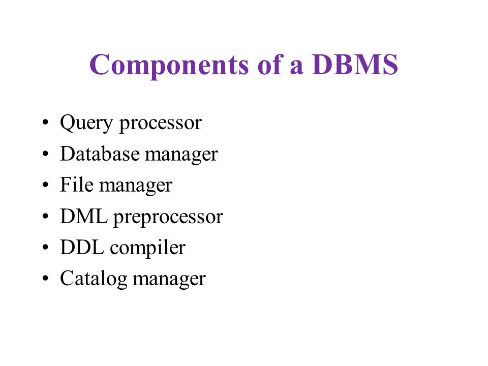 Components of a DBMS Query processor Database manager File manager