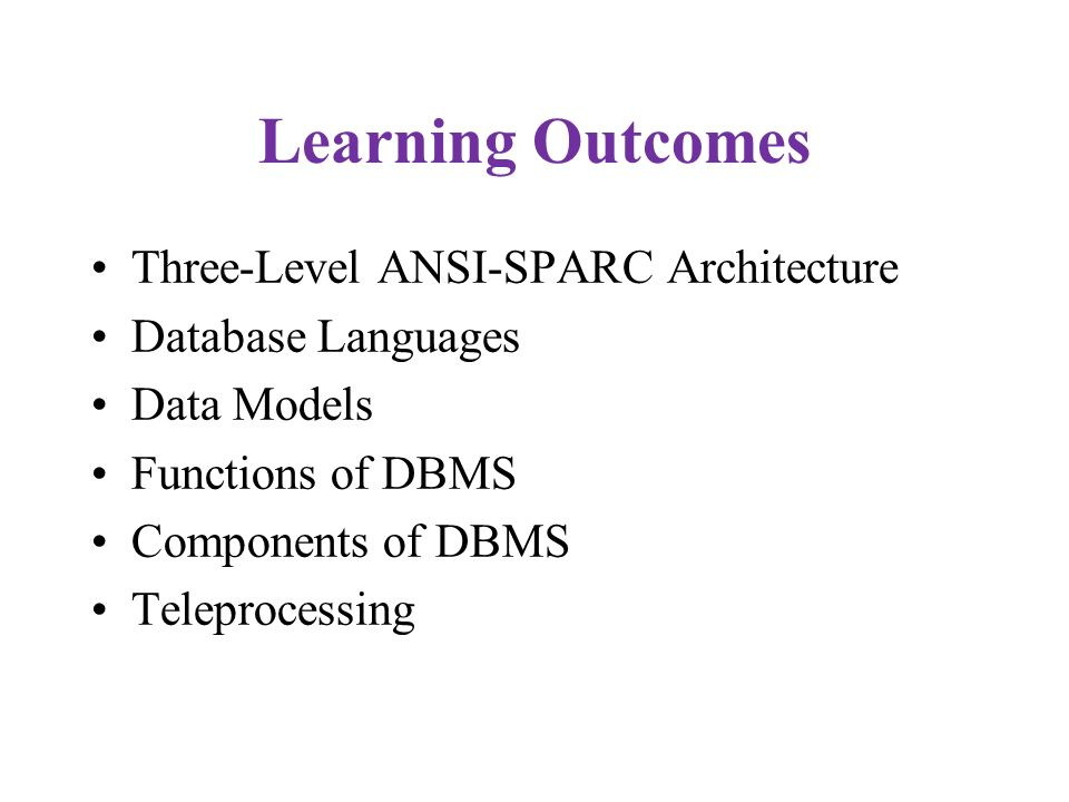 Learning Outcomes Three-Level ANSI-SPARC Architecture