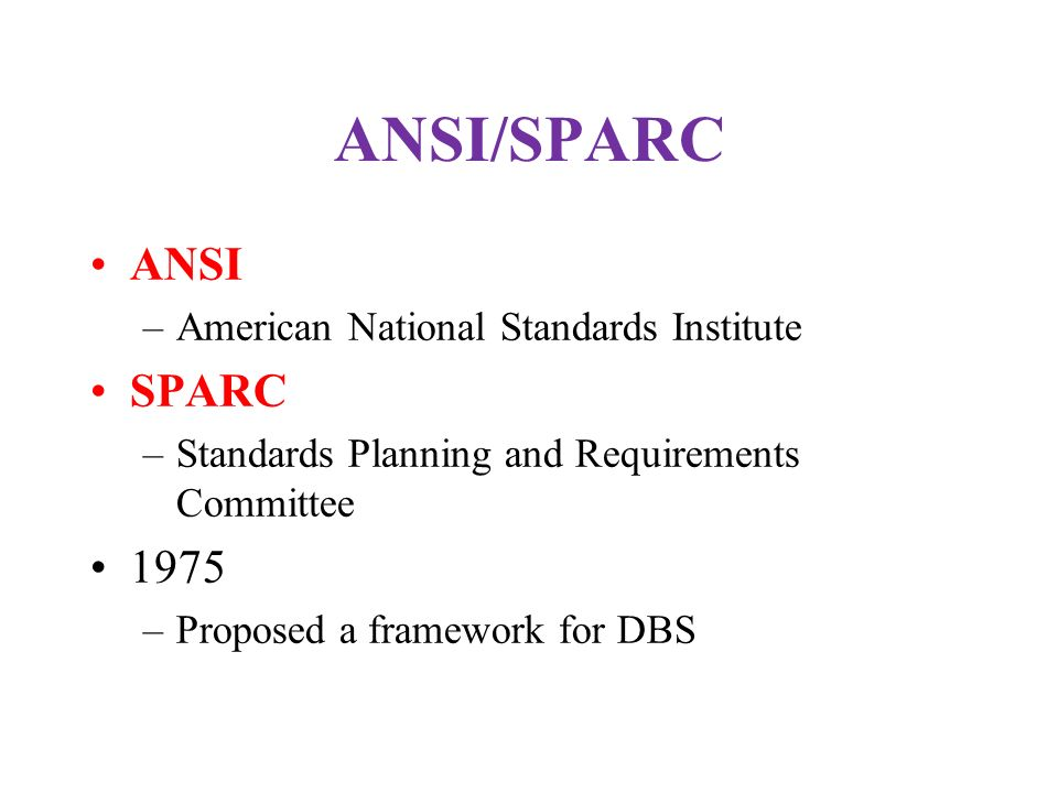 ANSI/SPARC ANSI SPARC 1975 American National Standards Institute