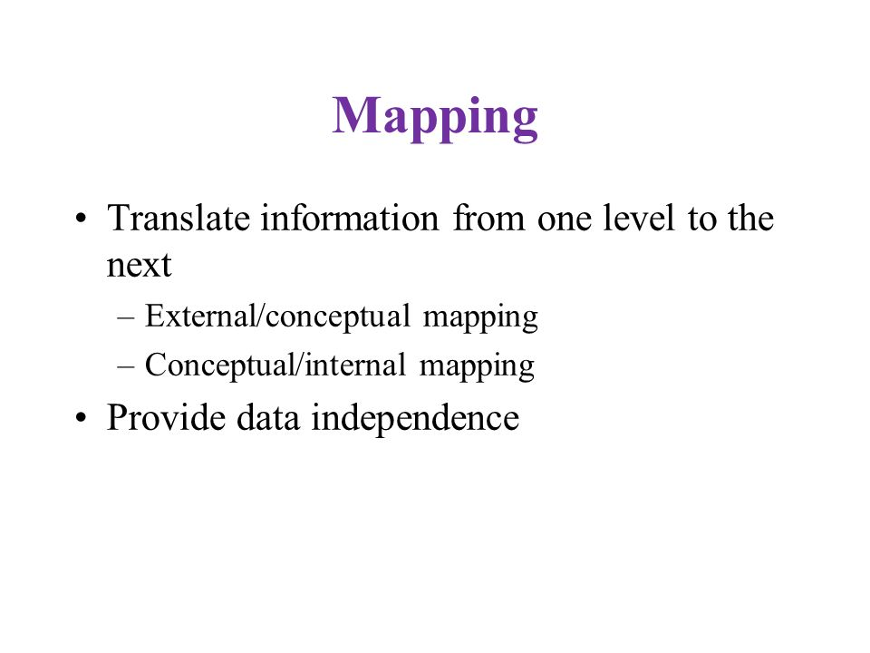 Mapping Translate information from one level to the next