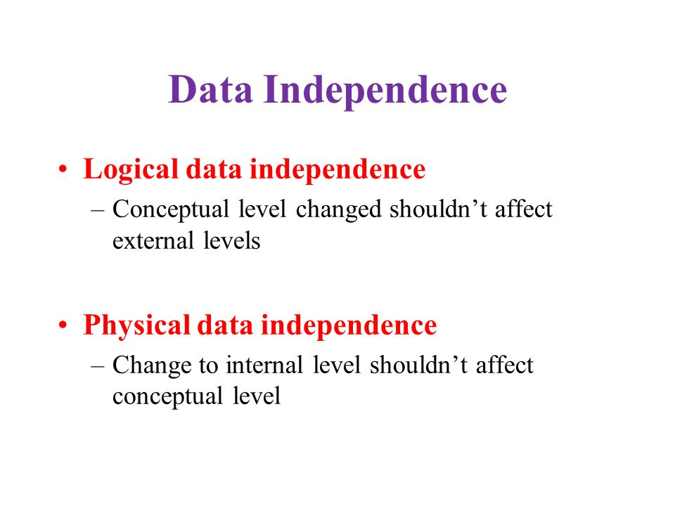 Data Independence Logical data independence Physical data independence