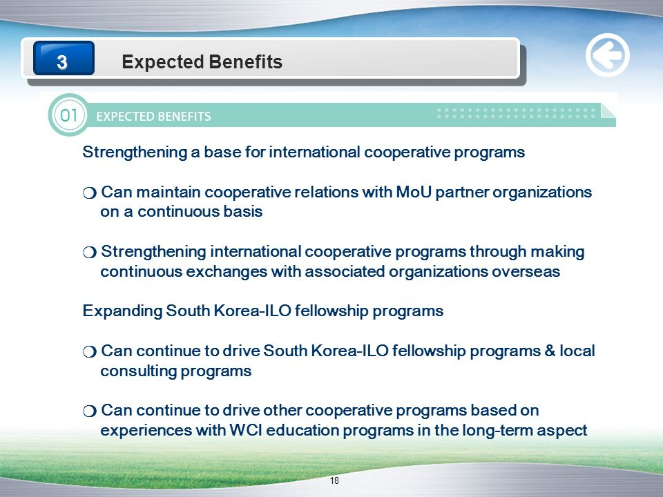 3 Expected Benefits.