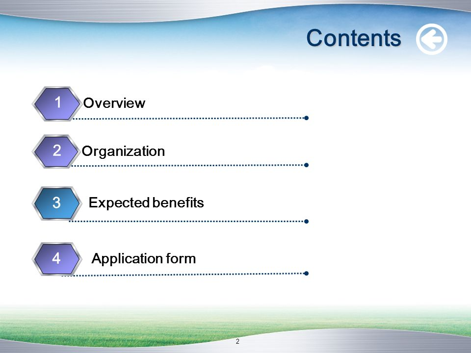 Contents 1 Overview 2 Organization 3 4 Expected benefits