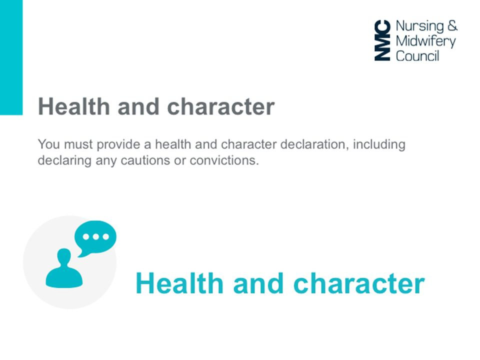 Declare you are of good health/character – unchanged