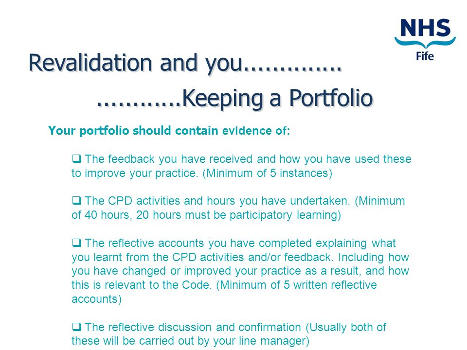Revalidation and you Keeping a Portfolio