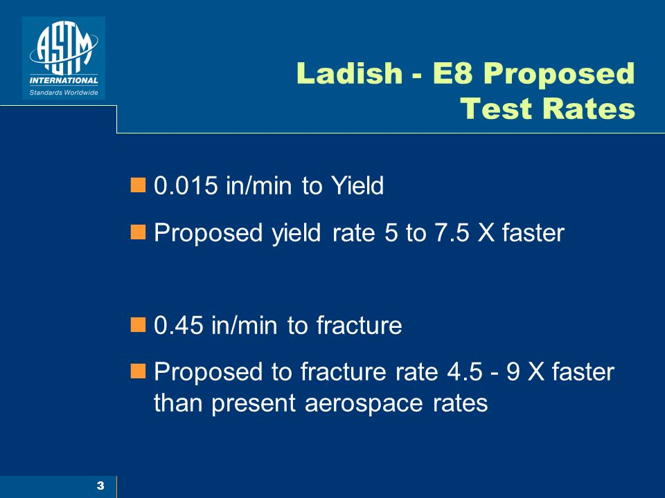 Ladish - E8 Proposed Test Rates