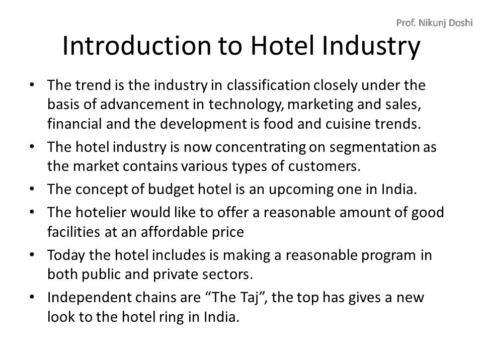 what comes under hospitality industry