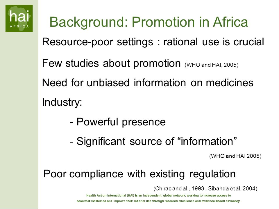 Background: Promotion in Africa