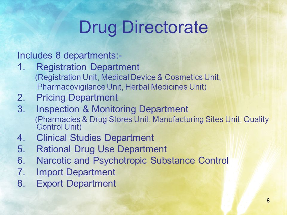 Drug Directorate Includes 8 departments:- Registration Department