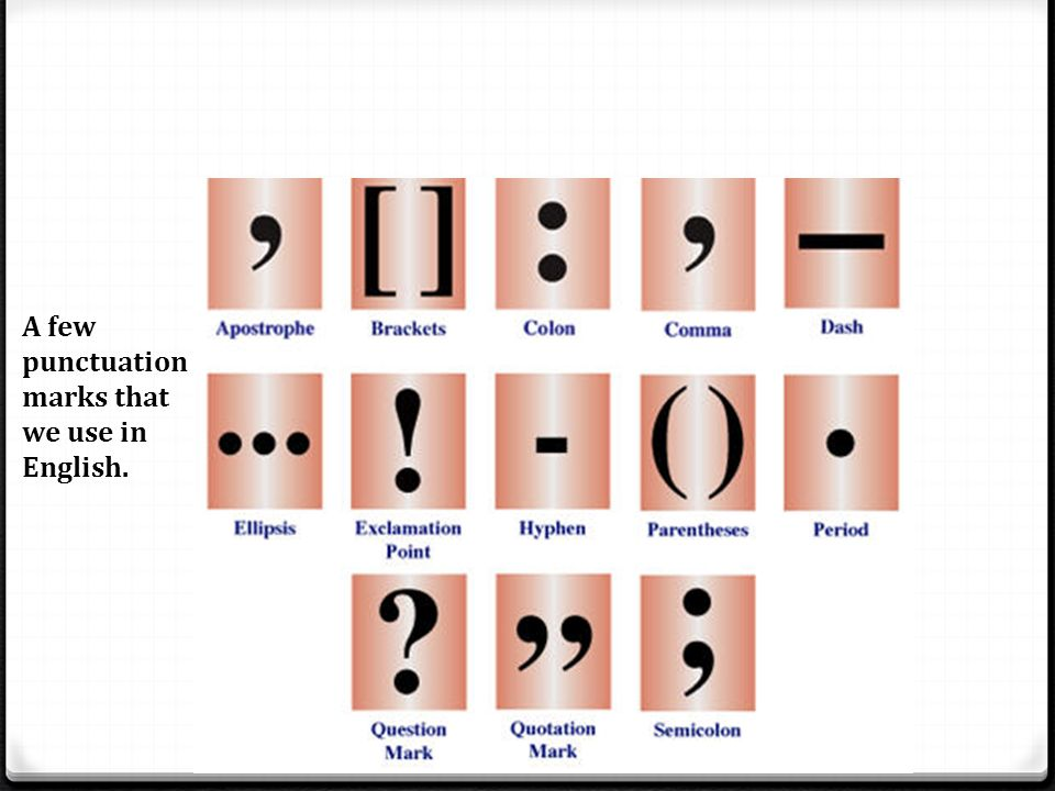 A few punctuation marks that we use in English.