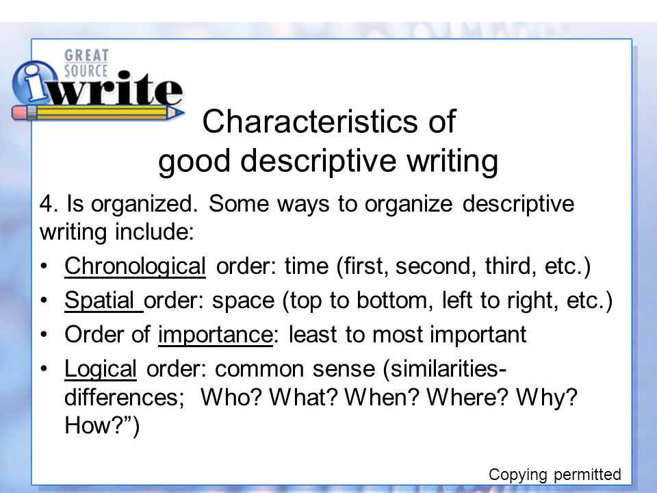 a comparison of the characteristics of narrative and descriptive writing Narrative writing is far more complex that simple descriptive writing while a poem for example may describe a scene or even events or people - generally you do not get into the deep inner thoughts of the characters or even get a full story with a clear middle, beginning, and end complete with conflict.