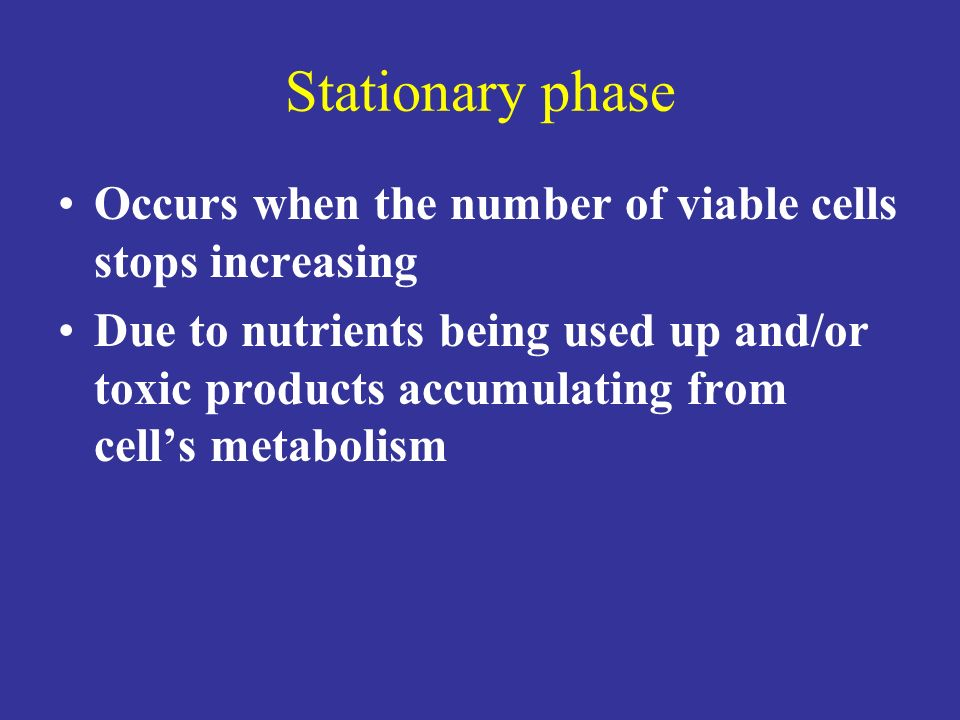 Stationary phase Occurs when the number of viable cells stops increasing.