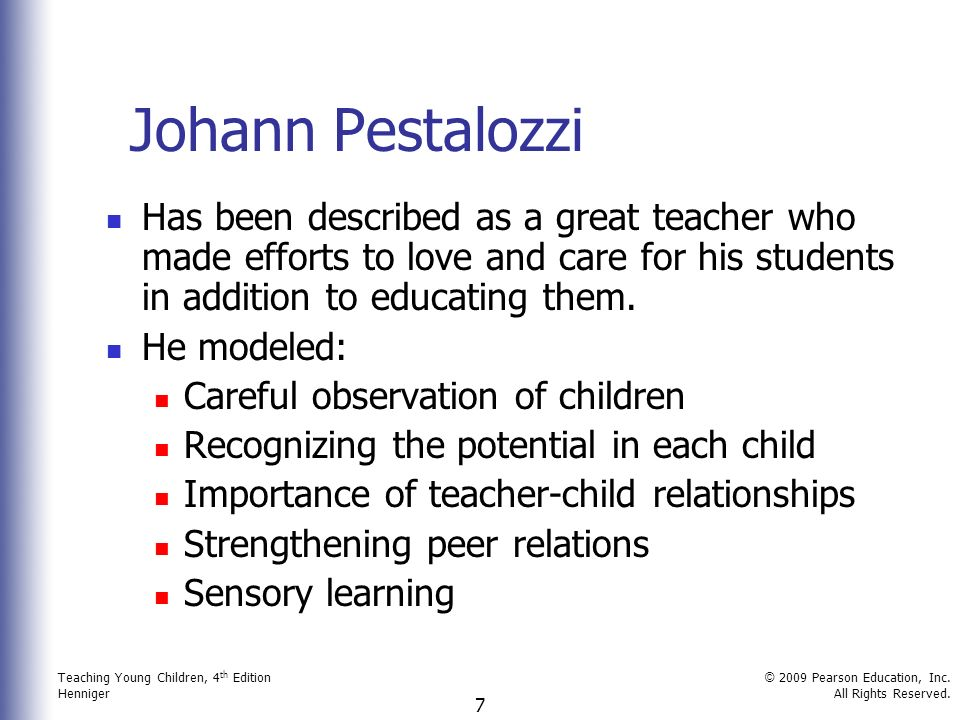 johann pestalozzi contribution to early childhood education