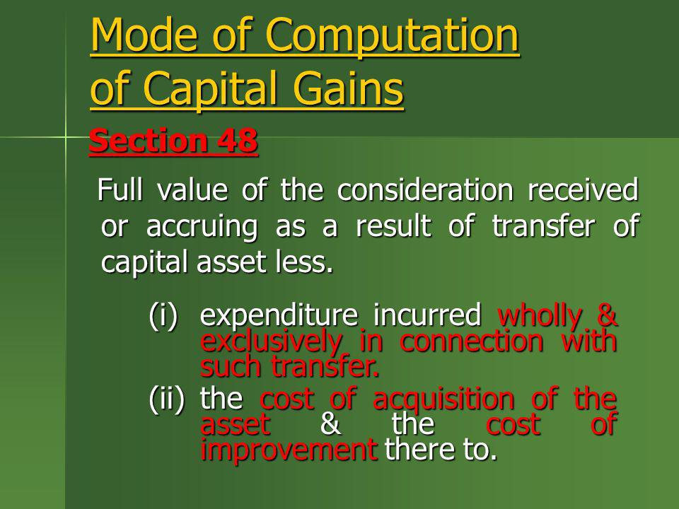 Mode of Computation of Capital Gains
