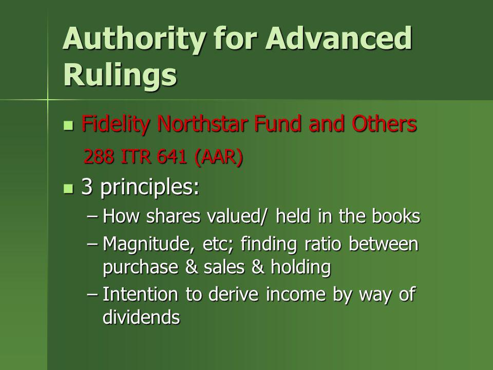 Authority for Advanced Rulings