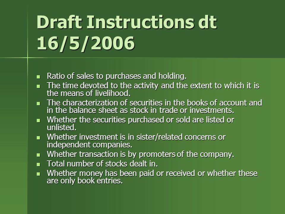 Draft Instructions dt 16/5/2006