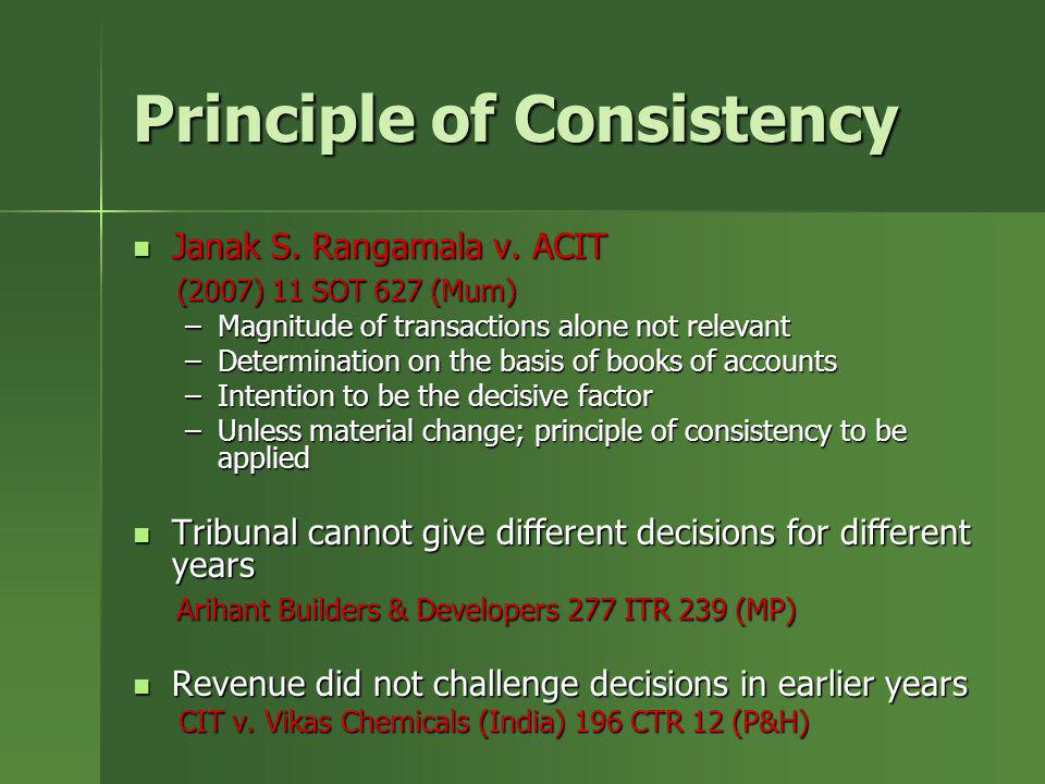 Principle of Consistency