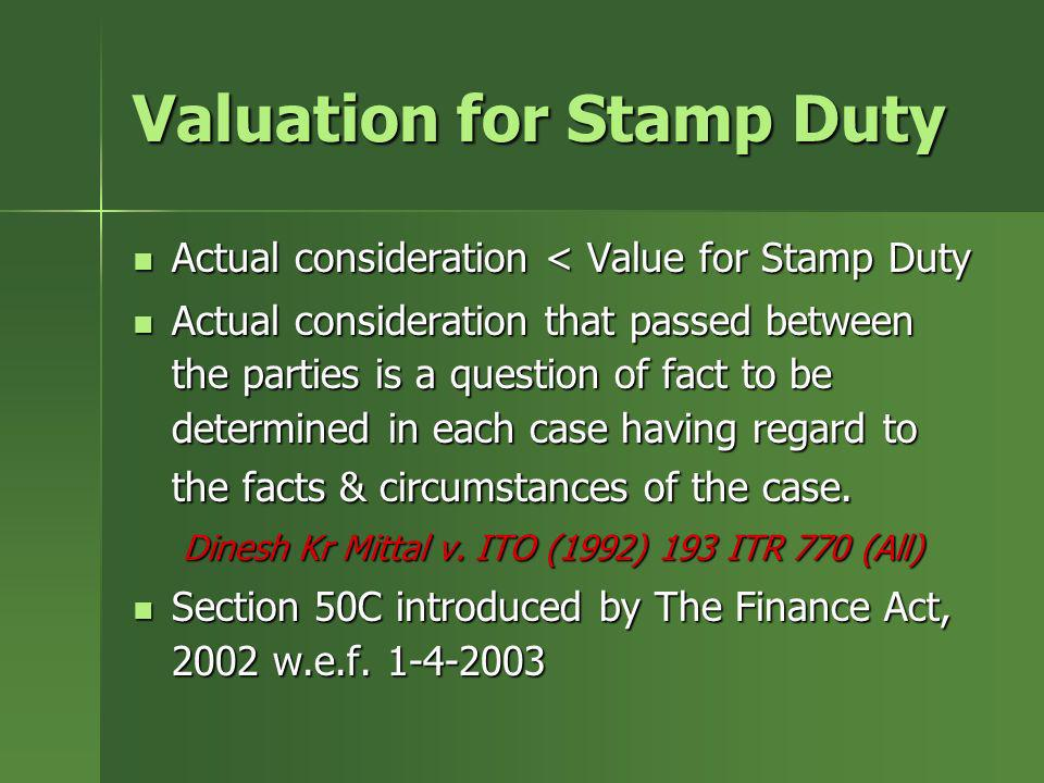 Valuation for Stamp Duty