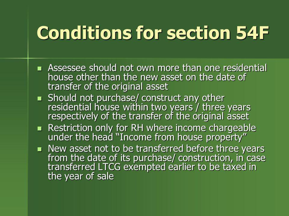 Conditions for section 54F