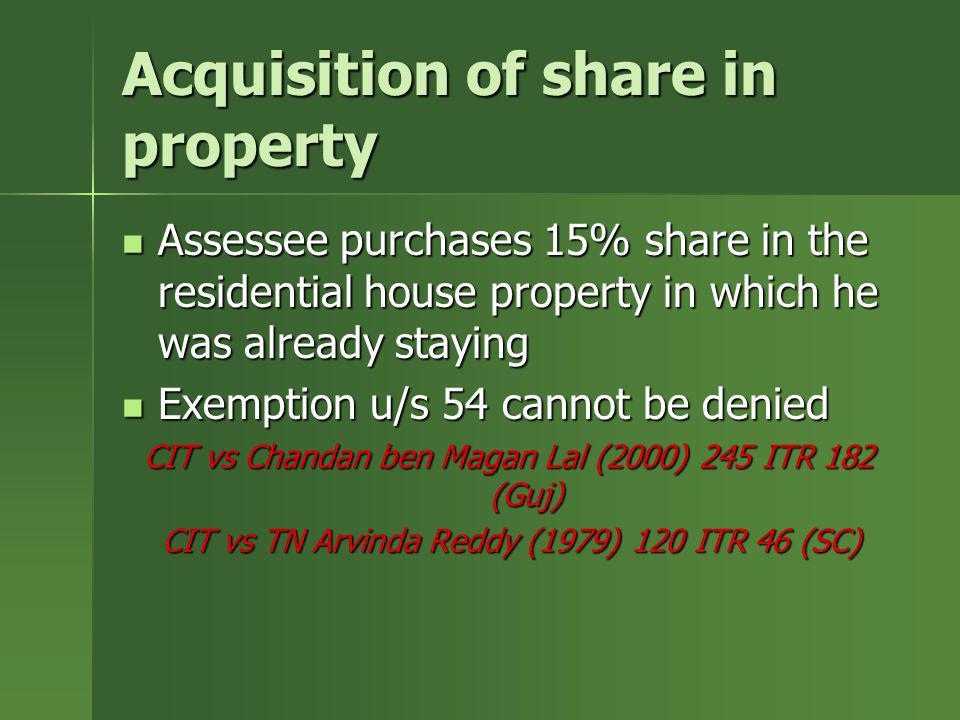 Acquisition of share in property