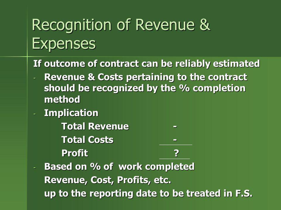Recognition of Revenue & Expenses