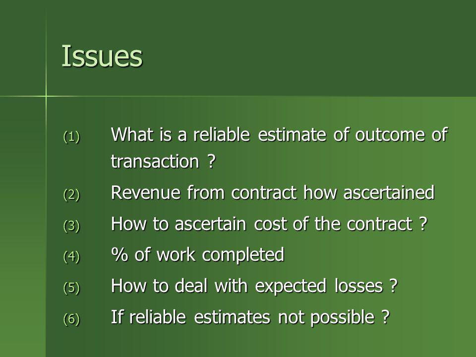 Issues What is a reliable estimate of outcome of transaction