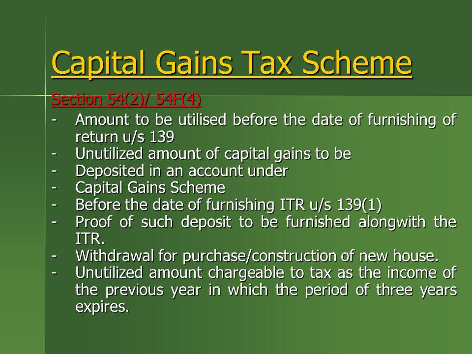 Capital Gains Tax Scheme