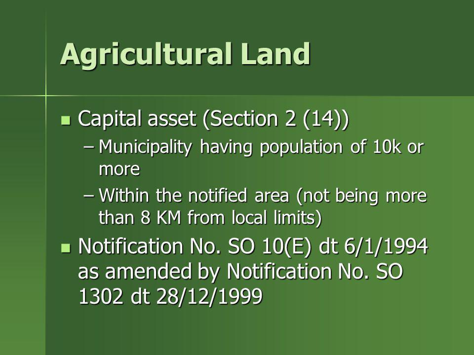Agricultural Land Capital asset (Section 2 (14))