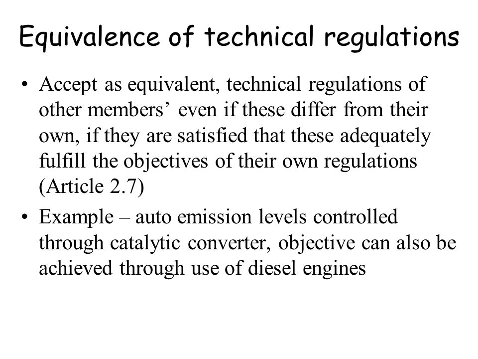 Equivalence of technical regulations