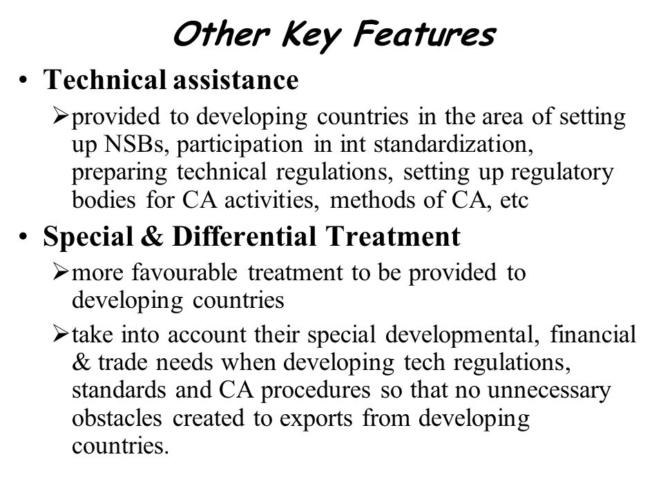 Other Key Features Technical assistance