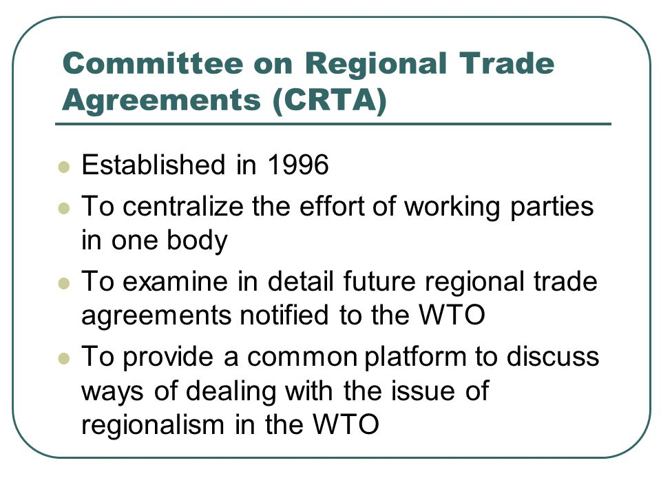 Committee on Regional Trade Agreements (CRTA)
