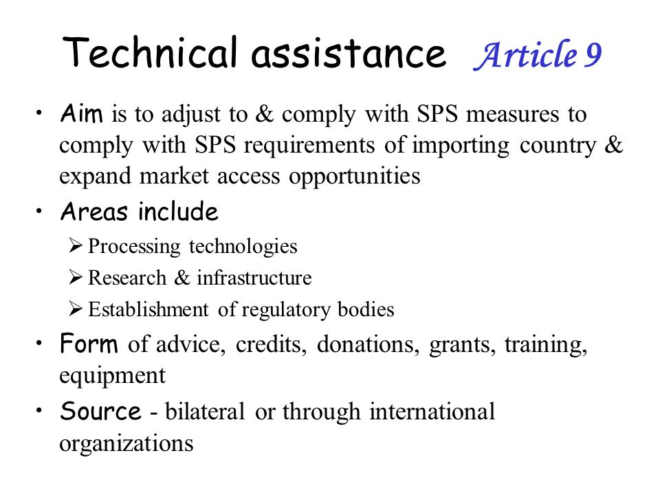 Technical assistance Article 9