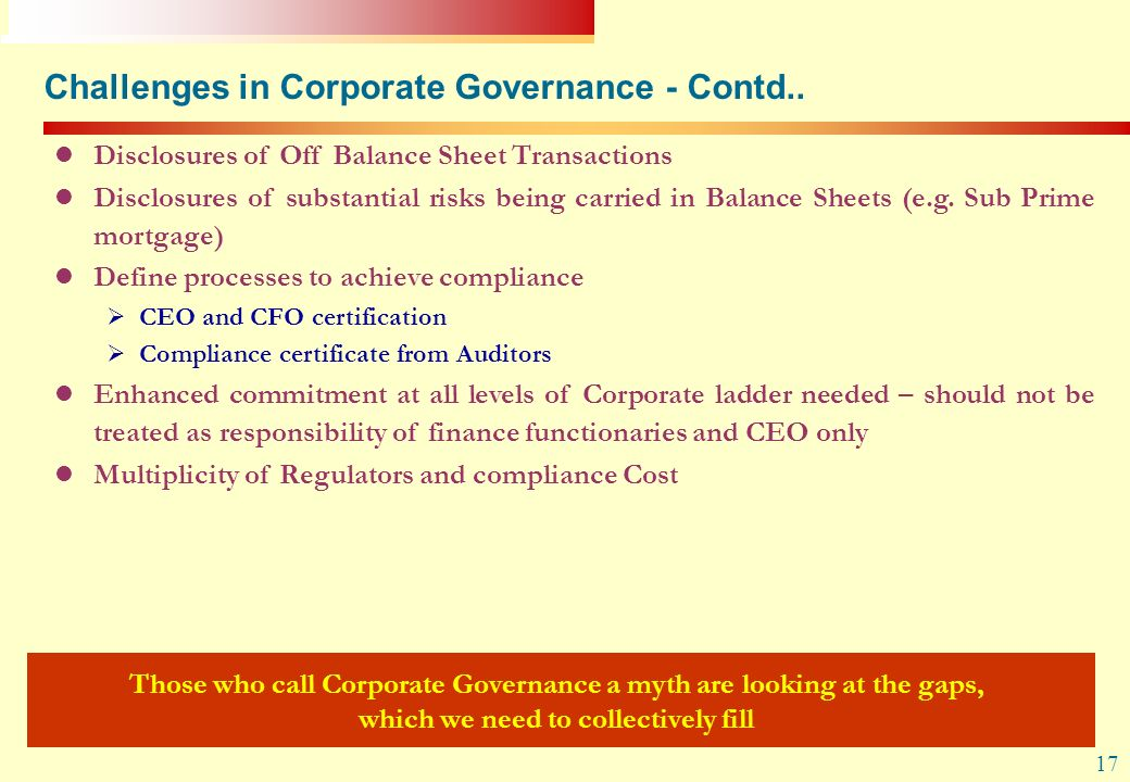 Challenges in Corporate Governance - Contd..