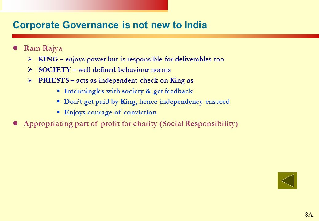 Corporate Governance is not new to India
