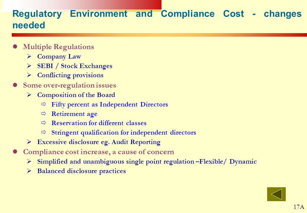 Regulatory Environment and Compliance Cost - changes needed