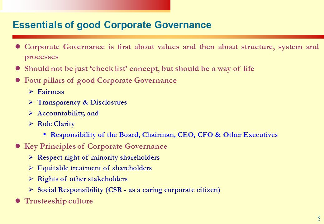 Essentials of good Corporate Governance