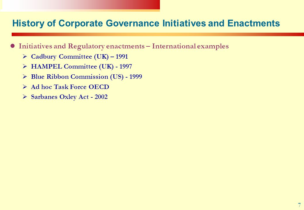 History of Corporate Governance Initiatives and Enactments