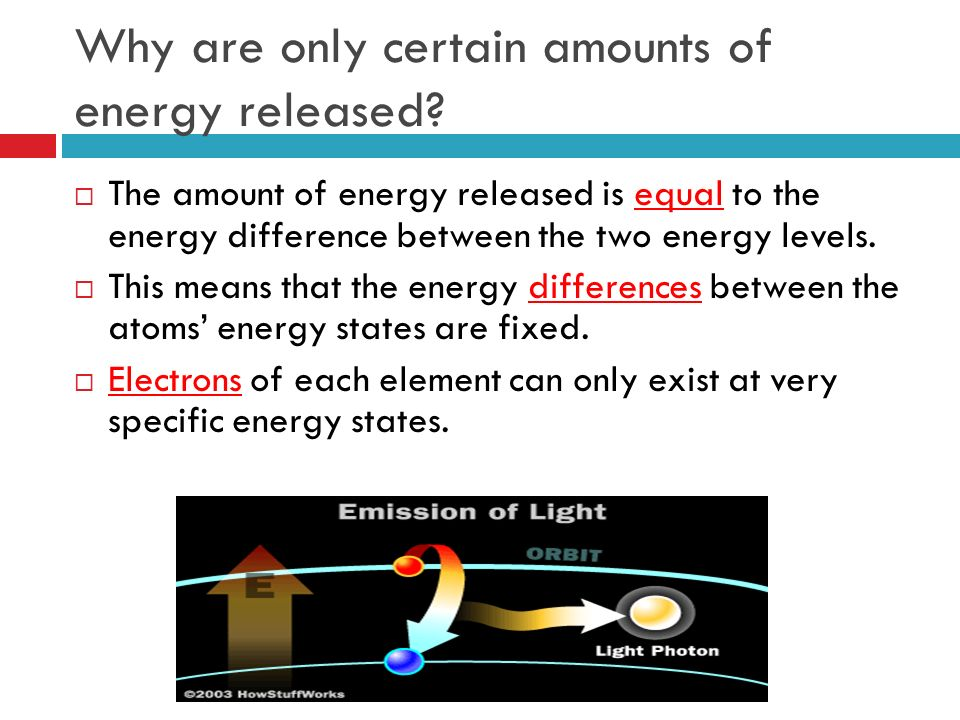 Why are only certain amounts of energy released