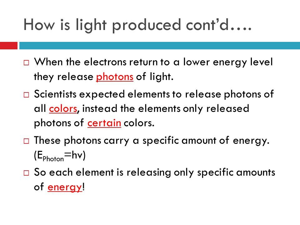 How is light produced cont'd….