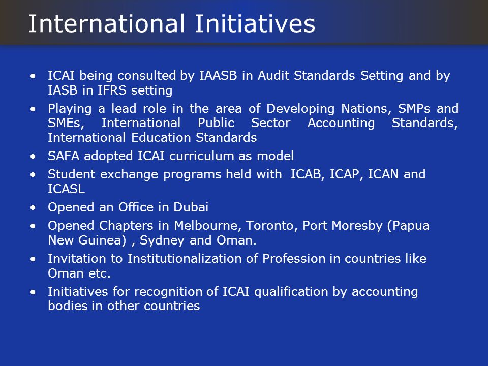 International Initiatives