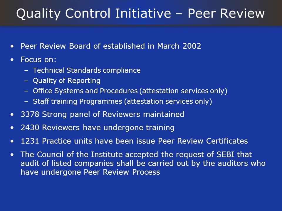 Quality Control Initiative – Peer Review