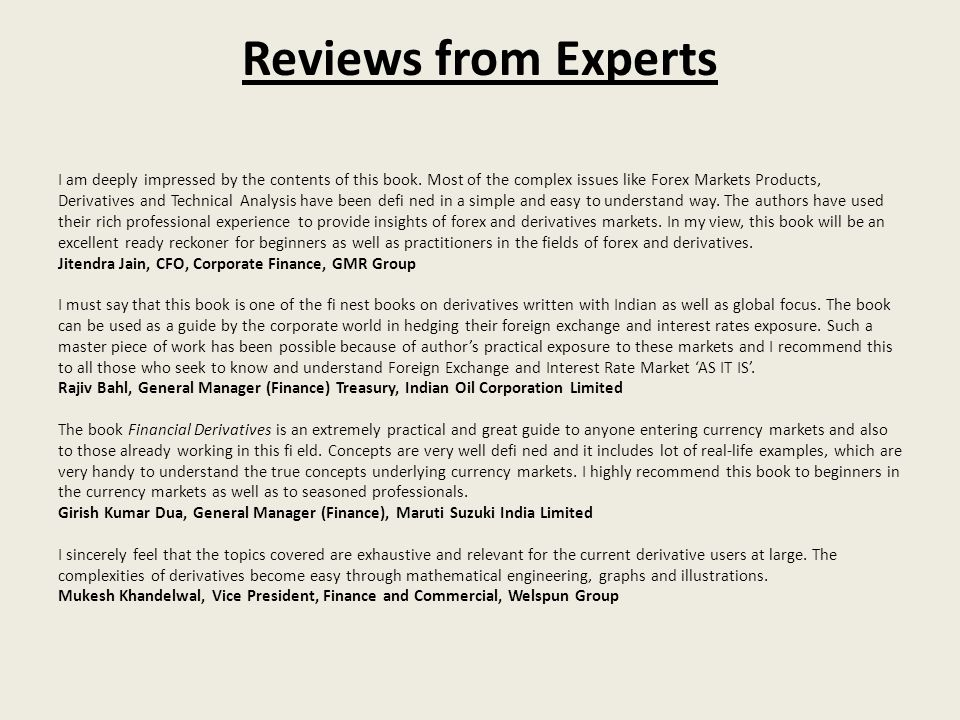 Reviews from Experts