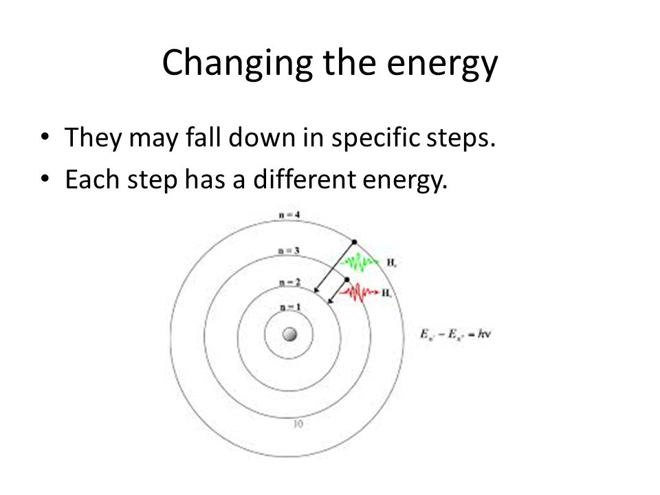 Changing the energy They may fall down in specific steps.