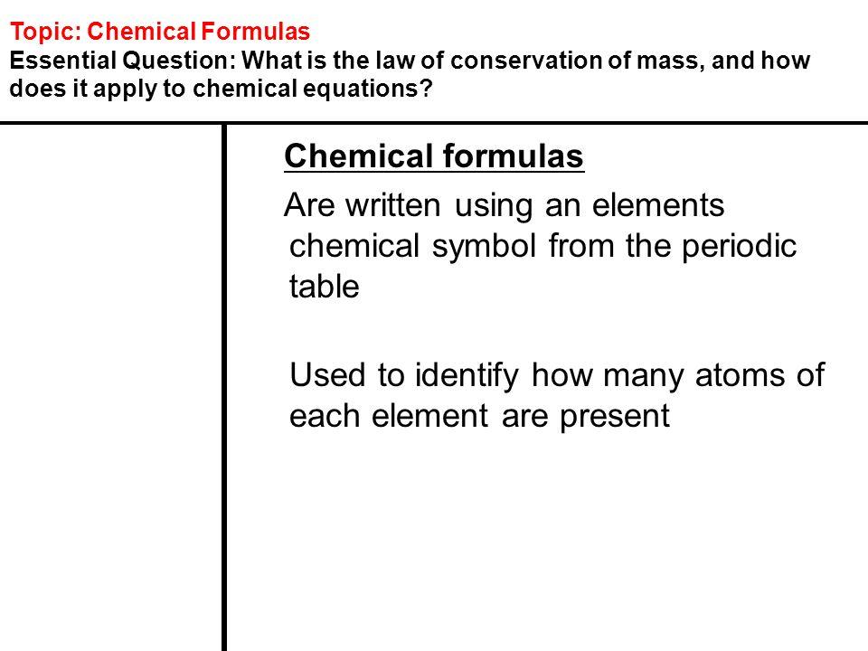 Topic Chemical Formulas Ppt Download