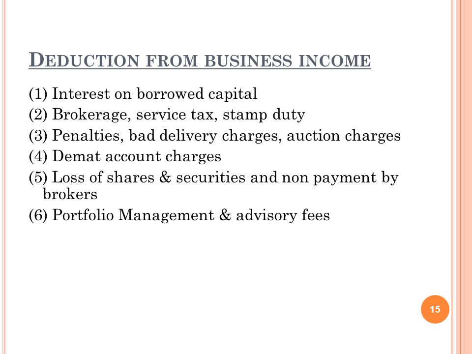 Deduction from business income