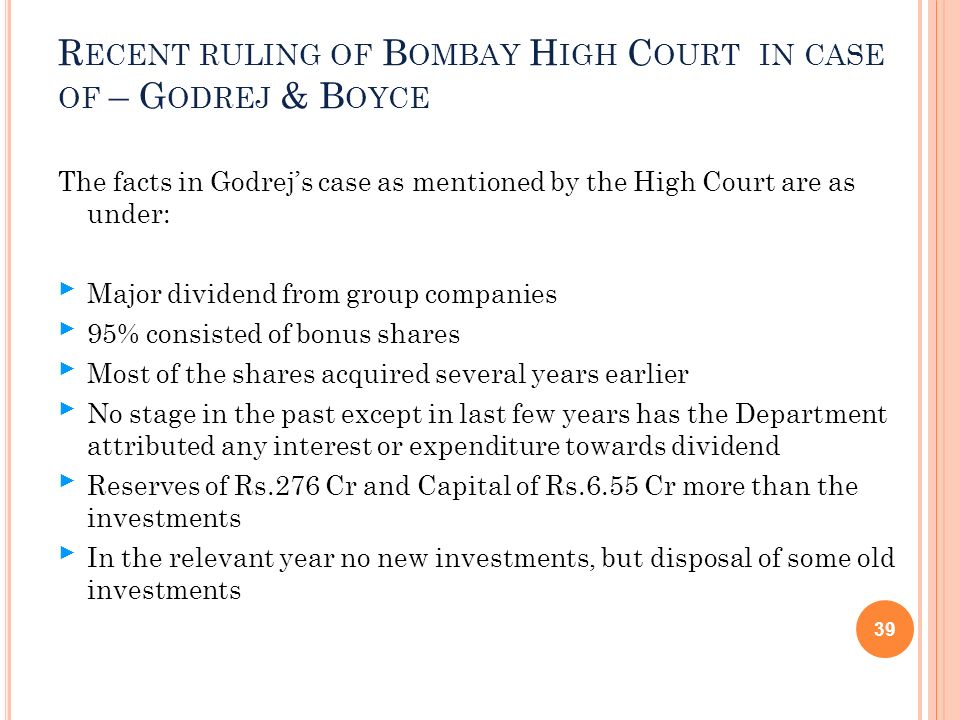 Recent ruling of Bombay High Court in case of – Godrej & Boyce