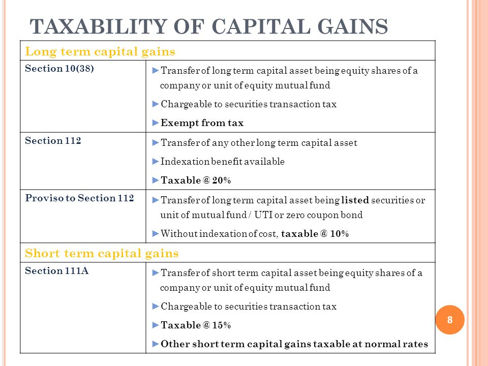 TAXABILITY OF CAPITAL GAINS