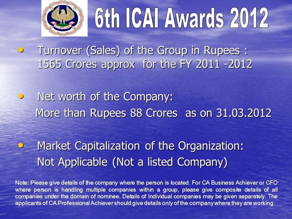 Net worth of the Company: More than Rupees 88 Crores as on 31.03.2012