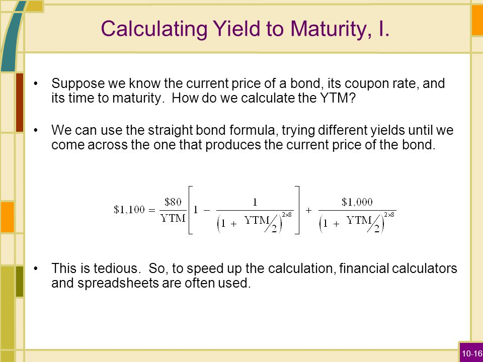 Calculate yield to maturity calculator